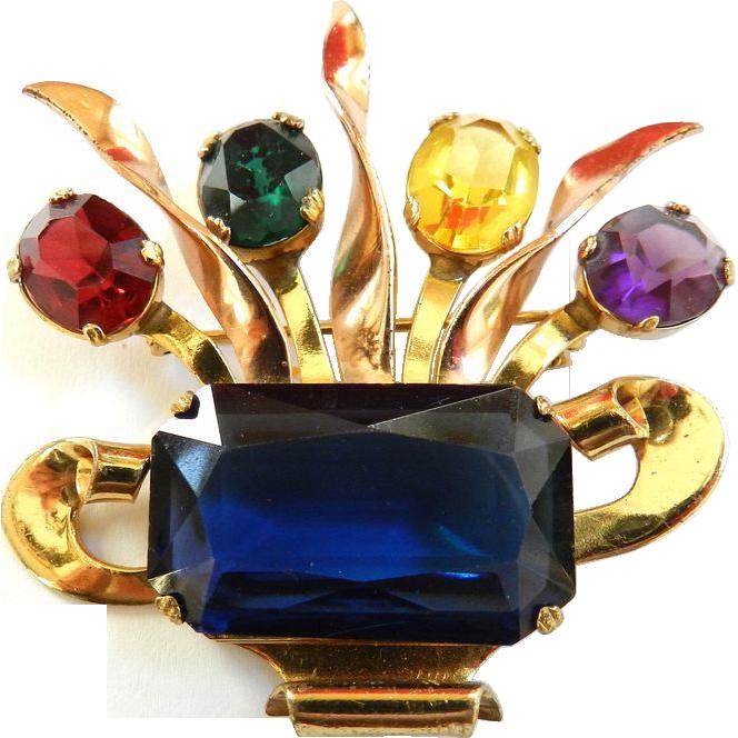 Wonderful 1940 Coro Glass Flower Basket Brooch
