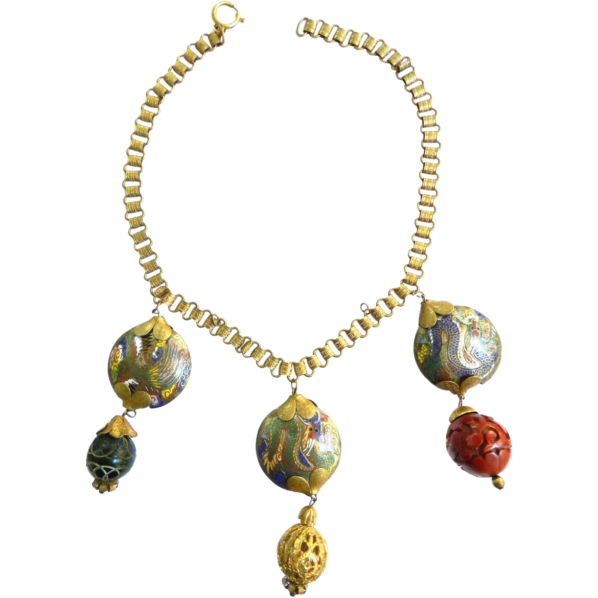 Vintage Chinese Hand Painted Drippy Book Chain Charm Necklace