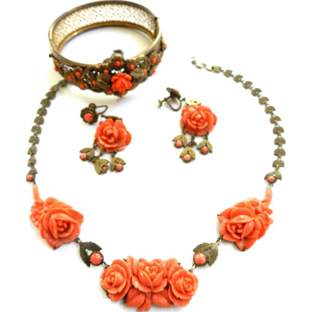 Vintage Early 1900s Carved faux Coral Rose Bud Neckace Bracelet Earrings