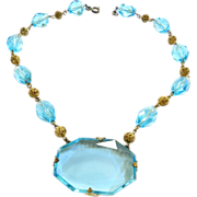 Early 1900s Czech Enormous Cut Glass Aqua Stone Necklace