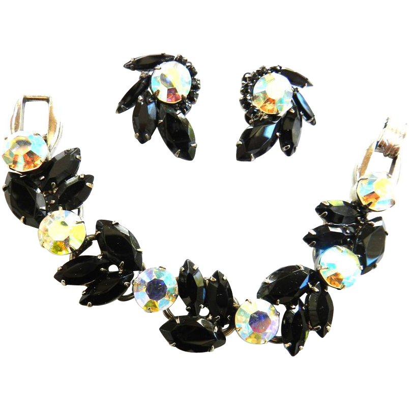 Midnight Elegance Juliana Vintage Big Black 5 Link Bracelet  and Earrings