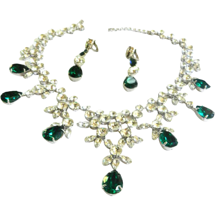 Magnificent Emerald Green Bib Necklace and Earrings Designer