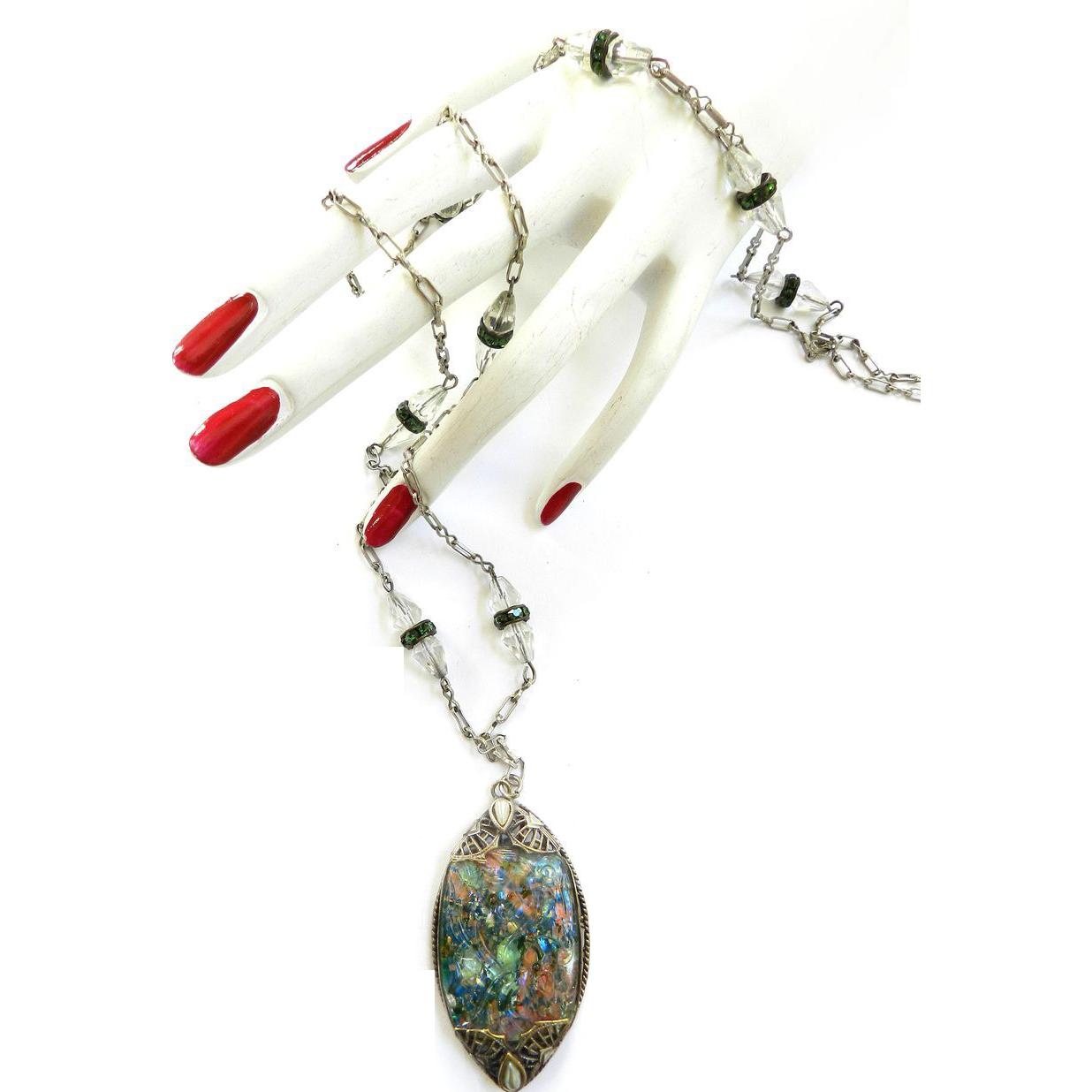 Magnificent 1920s flapper Crystal Huge Pendant Glass Stones