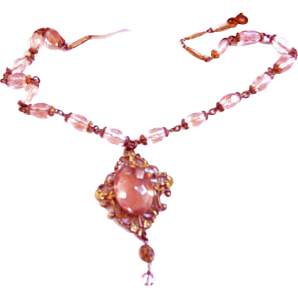 Early 1900s Blush Pink/Rose Czech Glass Pendant Necklace