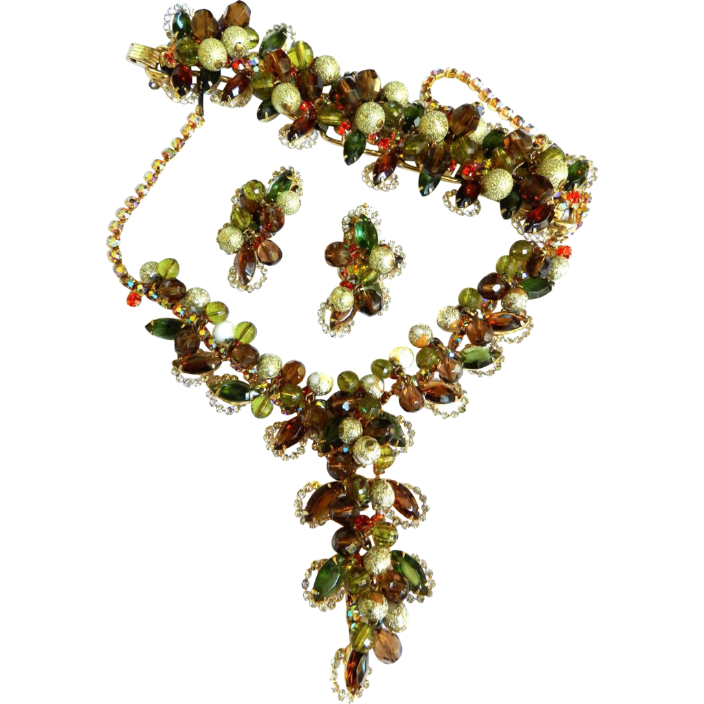 Massive Juliana Drippy Fall Colors Necklace Bracelet Earrings