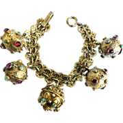 Extraordinary Late 1800s to Early 1910s Vintage Eutruscan 800 Silver Gilt Charm Bracelet
