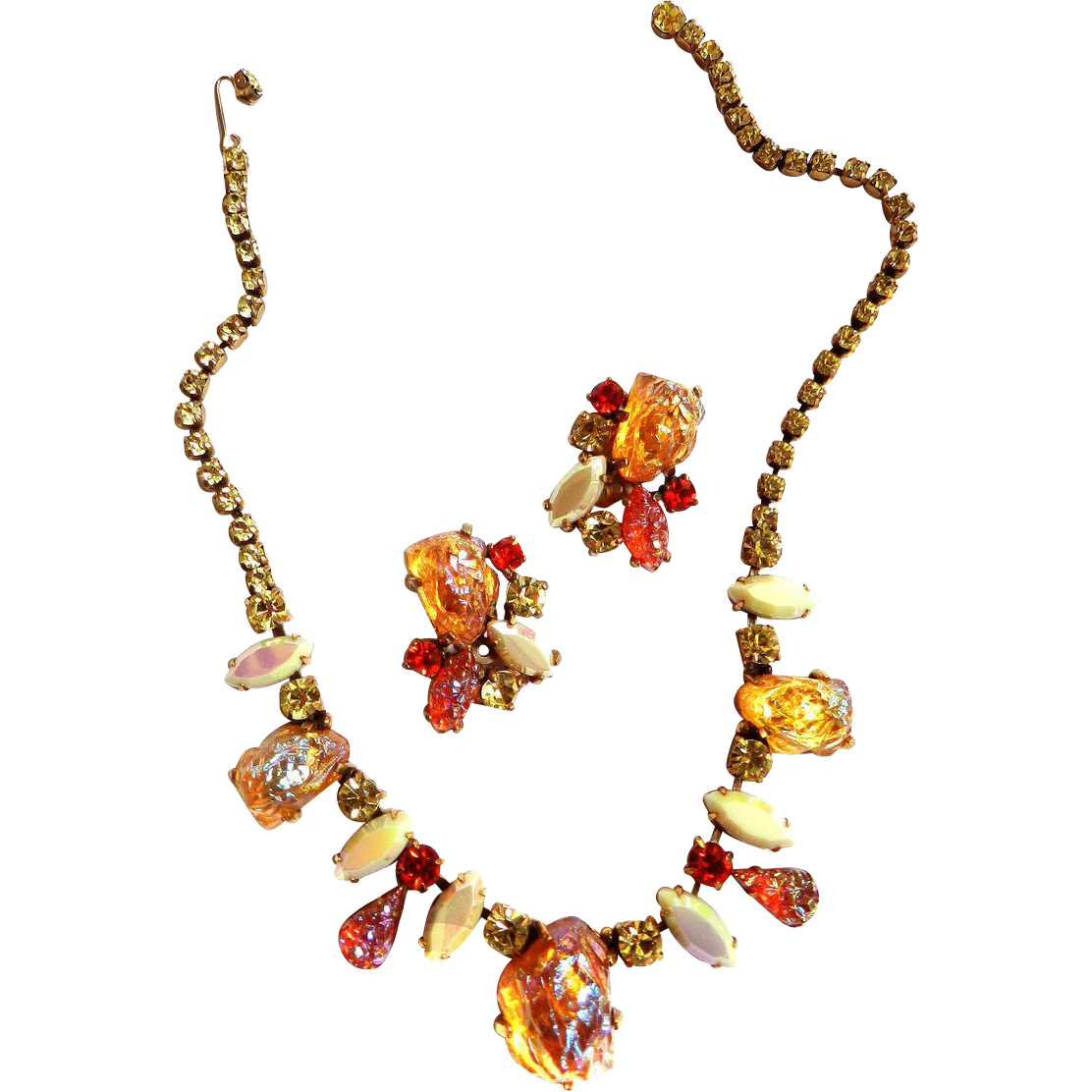 Mesmerizing Schiaparelli Poured Lava Stone Vintage Necklace and Earrings