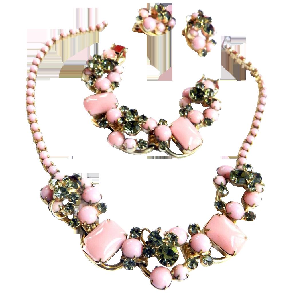 Juliana PInk Cabochon Vintage Necklace Bracelet earrings