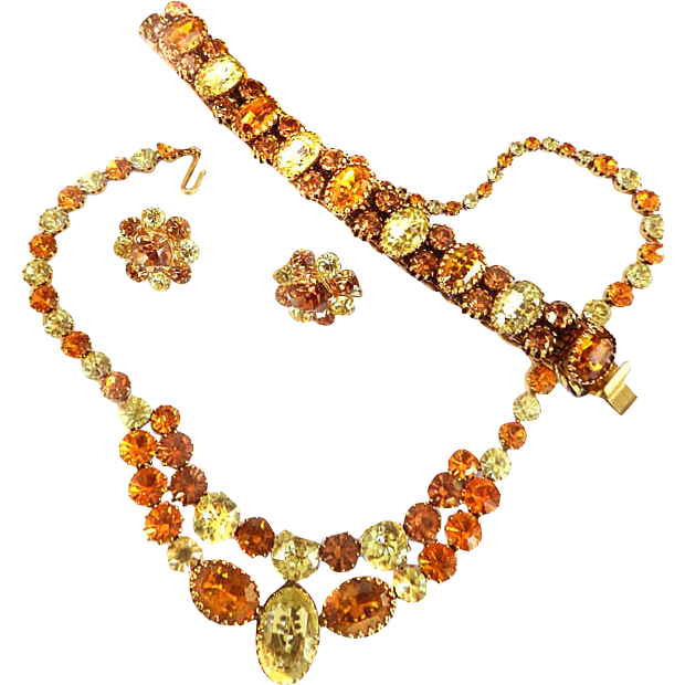 Vintage Vendome Spectacular Rarely Found Citrine Necklace Bracelet Earrings