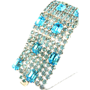 Massive High end Designer Aqua Rhinestone Vintage 50s Bracelet