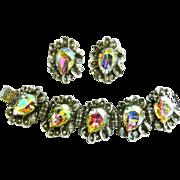 Humongous Judy Lee Designer Rhinestone Bracelet and Earrings