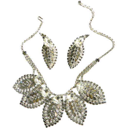 Massive High End Designer 1940s Clear and Smoke Rhinestone Necklace and Earrings