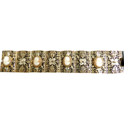 Breathtaking  Early 1900s Filigree Czech Carved Cameo Bracelet