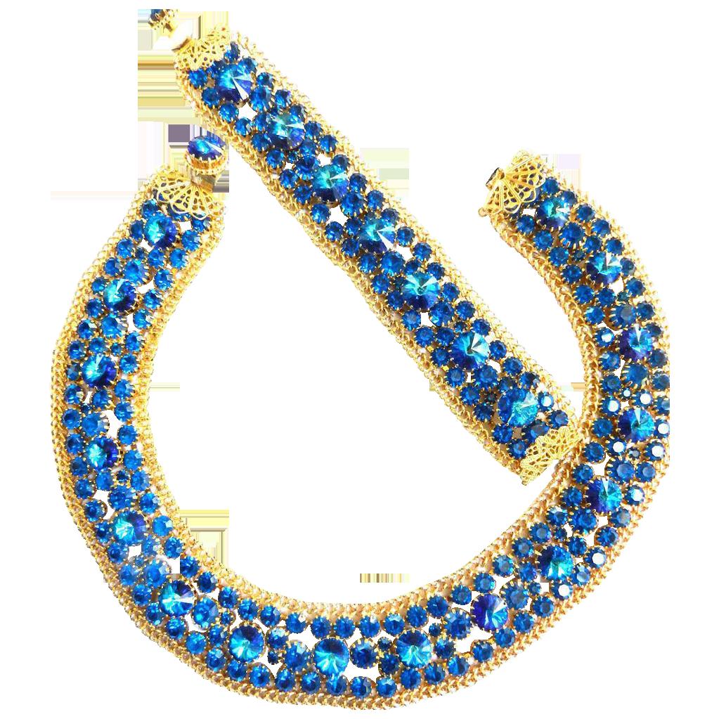 Electrifying Vintage 50s Bib/Collar Rivoli Necklace and Bracelet