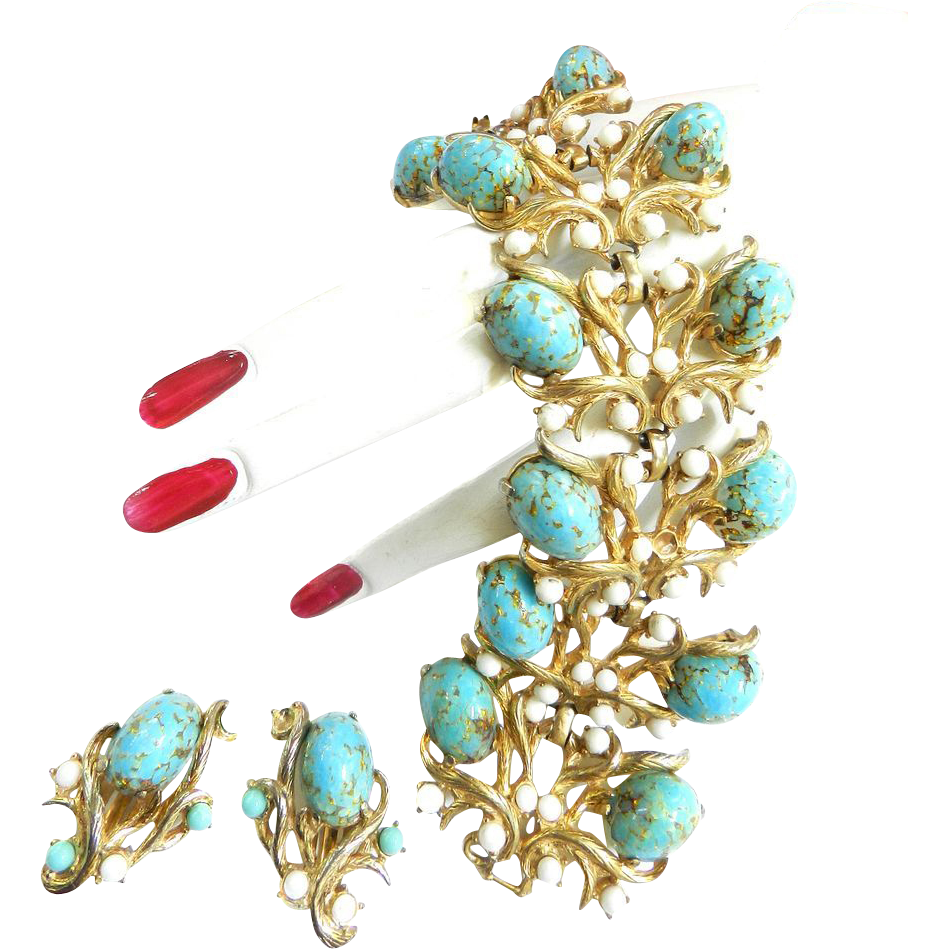 Spectacular Schiaparelli Vintage Massive Faux Turquoise Matrix Cabochon Bracelet and Earrings