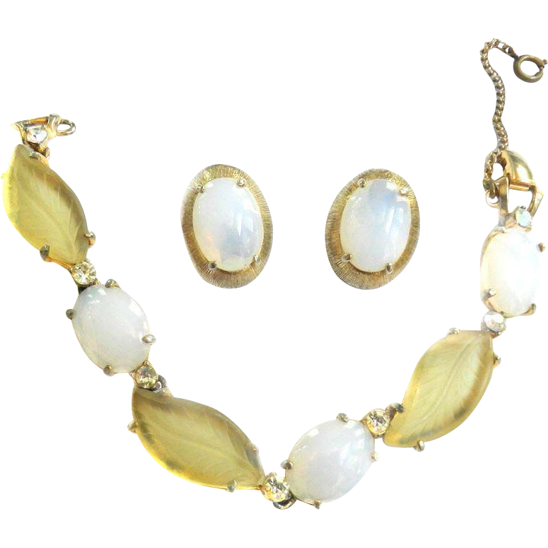 Vintage Schiaparelli Faux Opal and Citrine Art Glass Bracelet and Earrings