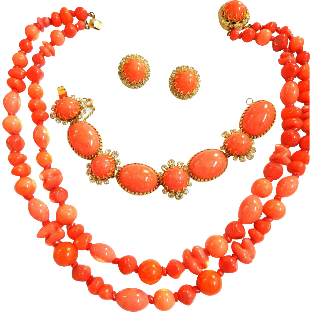 Gorgeous Hattie Carnegie Vintage 50s Coral Glass Beads Necklace Bracelet Earrings