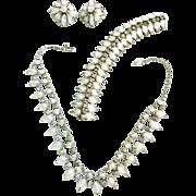 Vintage 50s Kramer Givre Chunky Necklace Bracelet Earrings Parure