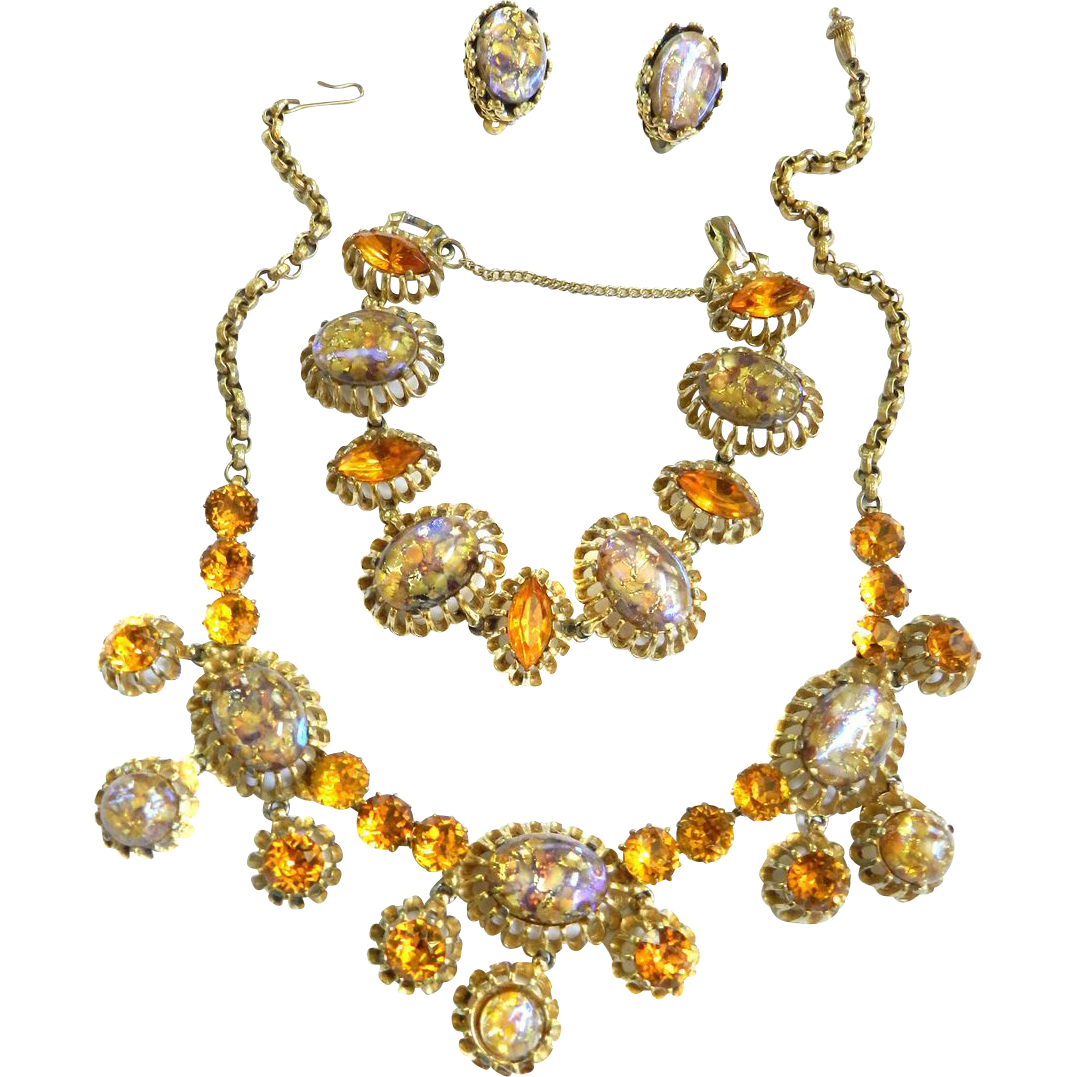 Vintage Schiaparelli 50s Art Glass Faux Opal Necklace Bracelet Earrings