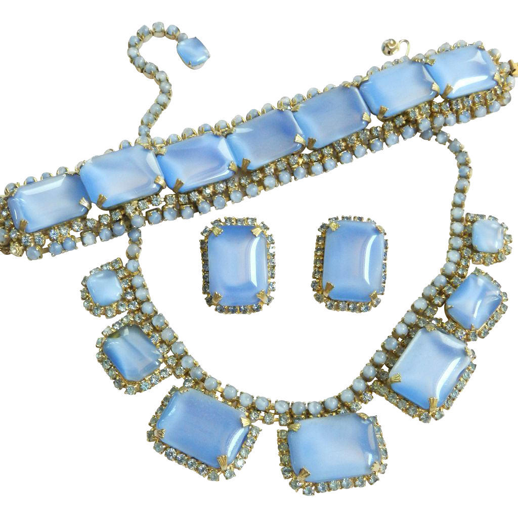 Rebel in Blue Jeans Huge Vintage Baby Blue Faux Moonstone NecklaceBracelet Earrings