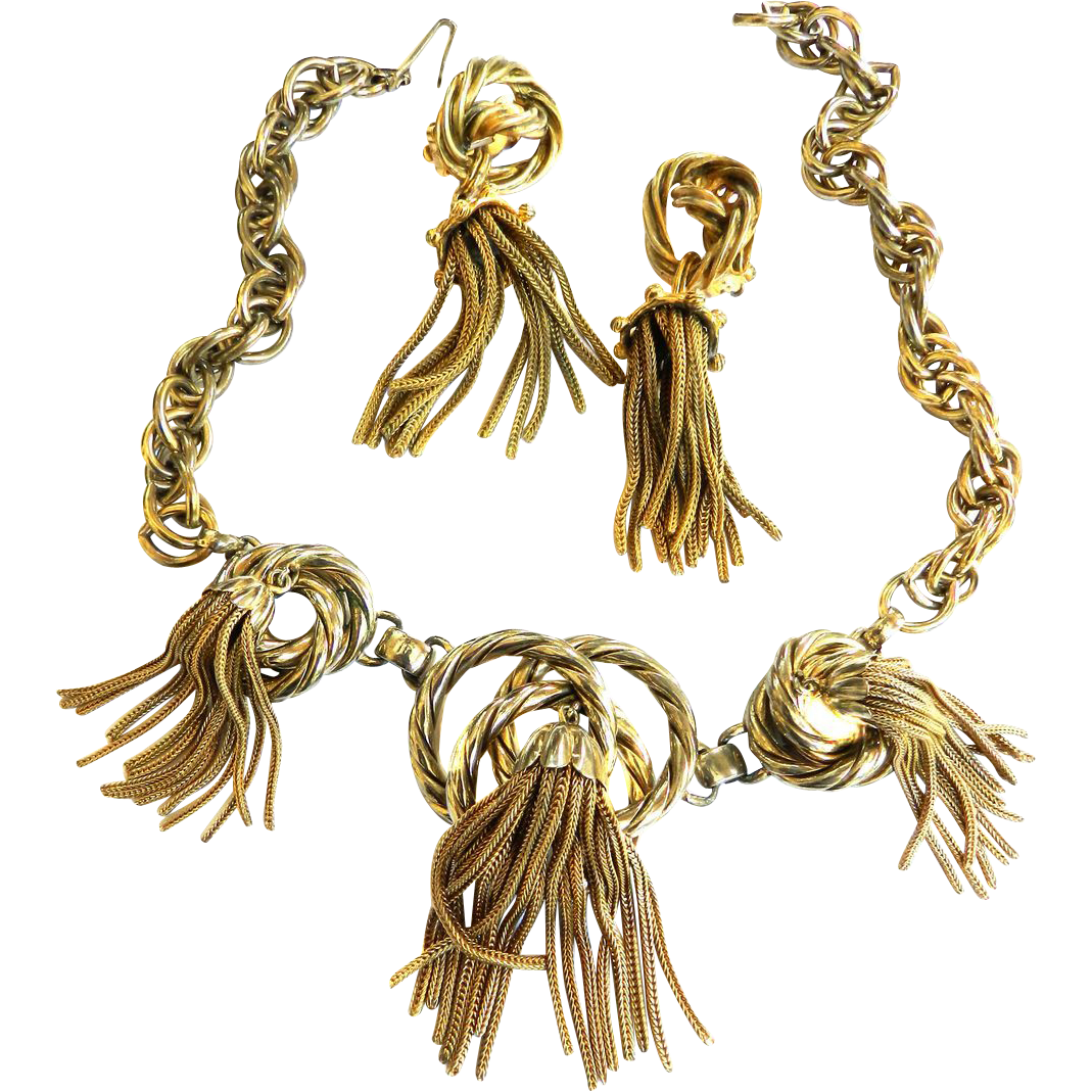 Vintage Schiaparelli Drippy Huge Tassel Necklace and Earrings Demi