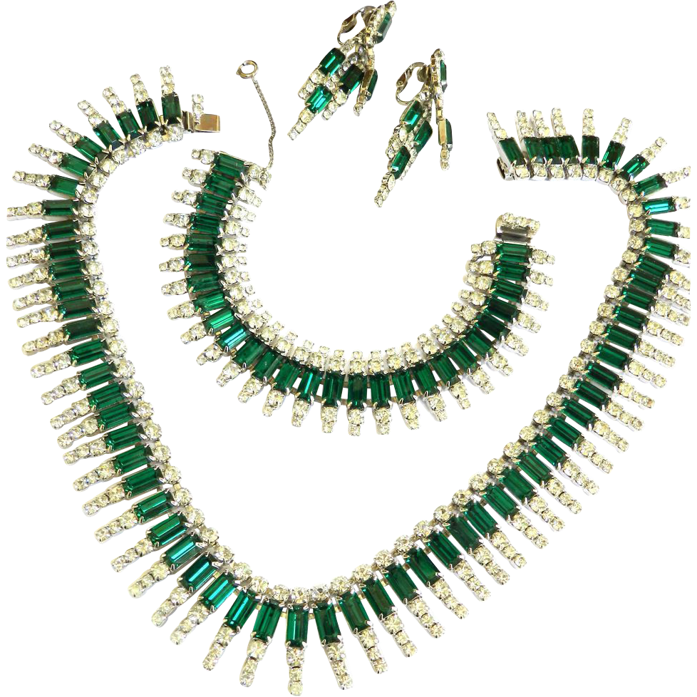 Magnificent Kramer Emerald Green Rhinestone Necklace Bracelet Earrings Vintage