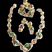 Razzle Dazzle Tourmaline Vendome Vintage Necklace Bracelet Earrings