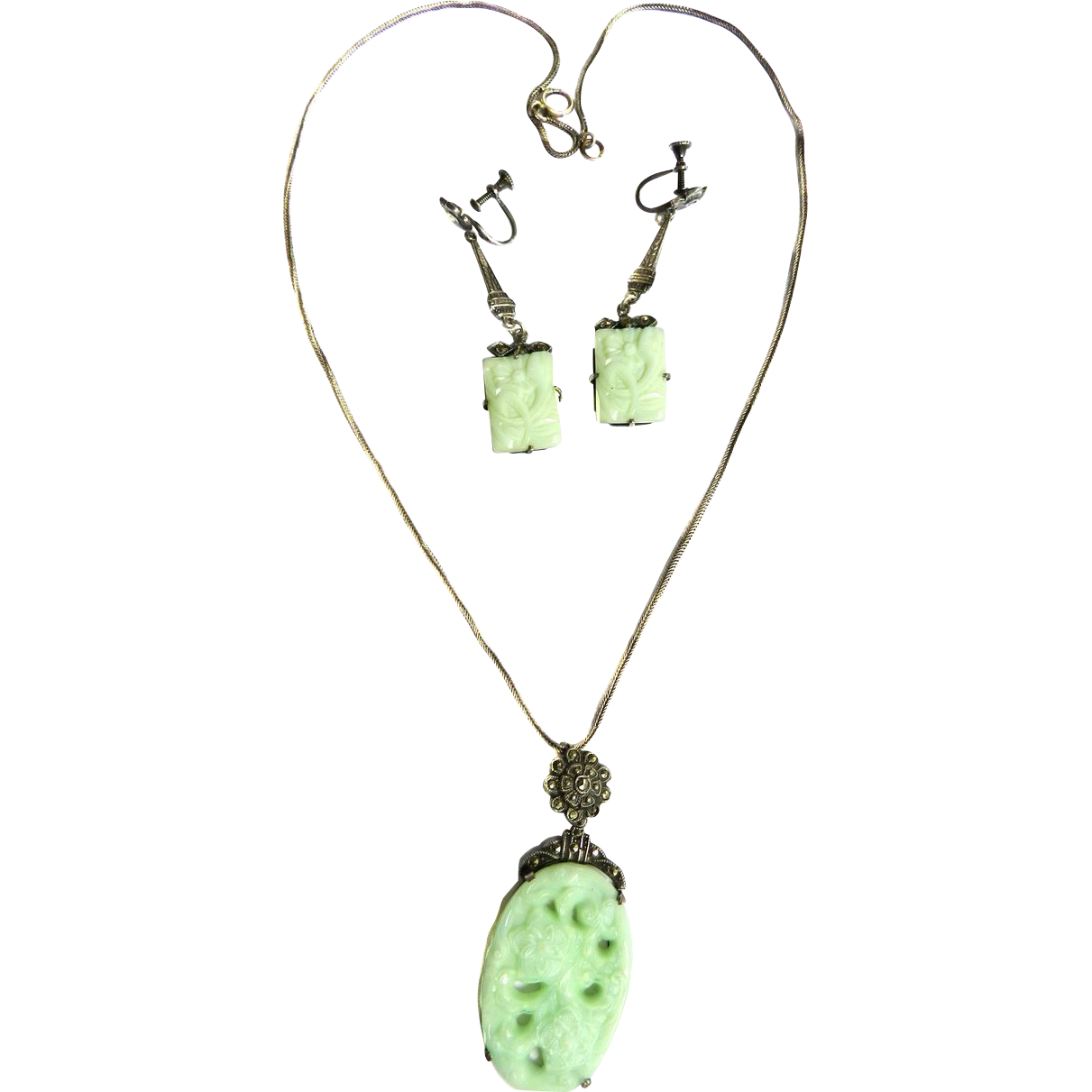 Spectacular Carved Jadeite  Chinese Sterling Necklace and Earrings