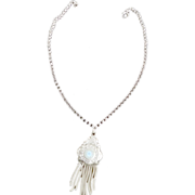 Victorian Edwardian 1880s Silver  Tassel Medallion Necklace