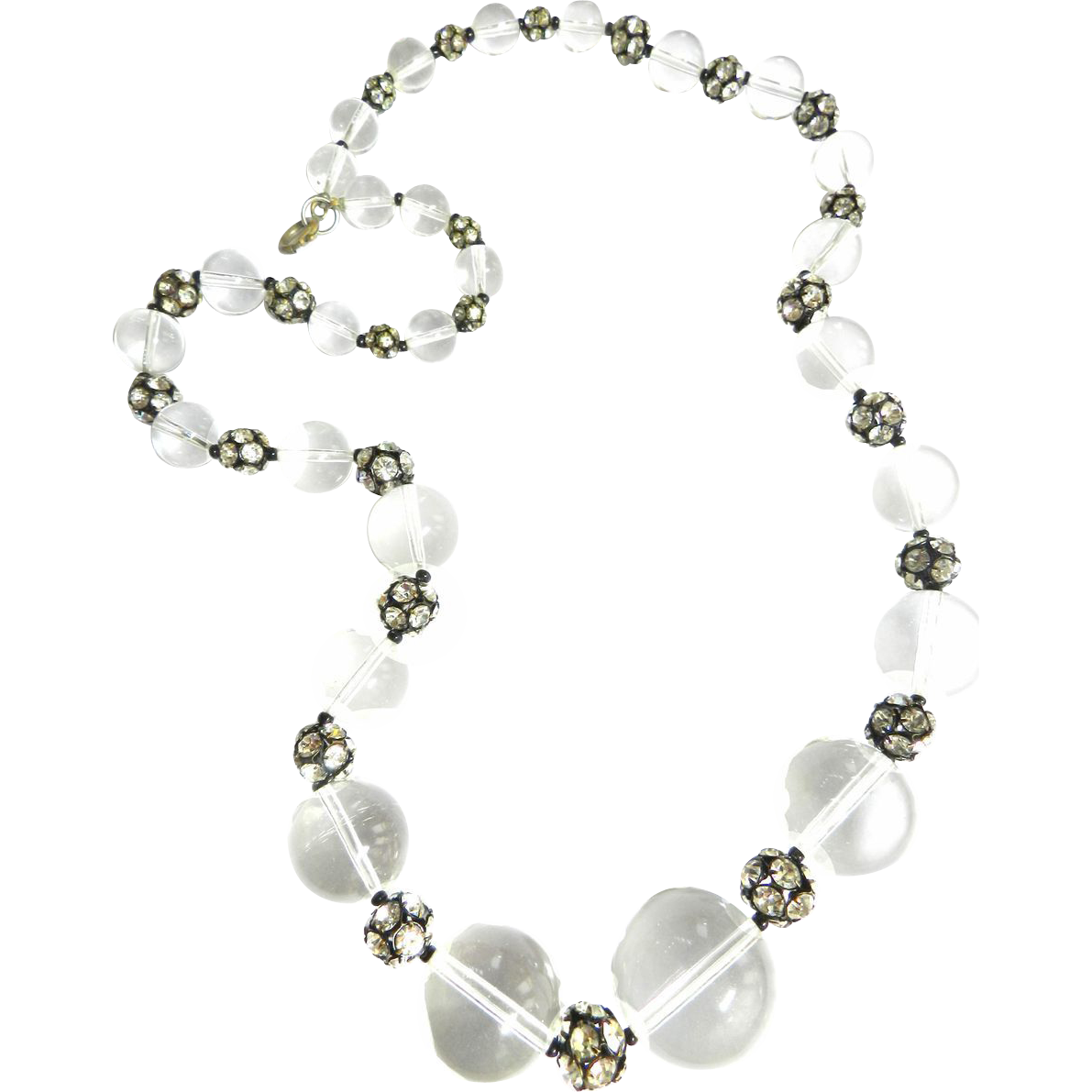 Massive Lucite and Rhinestone Runway 80s  Necklace