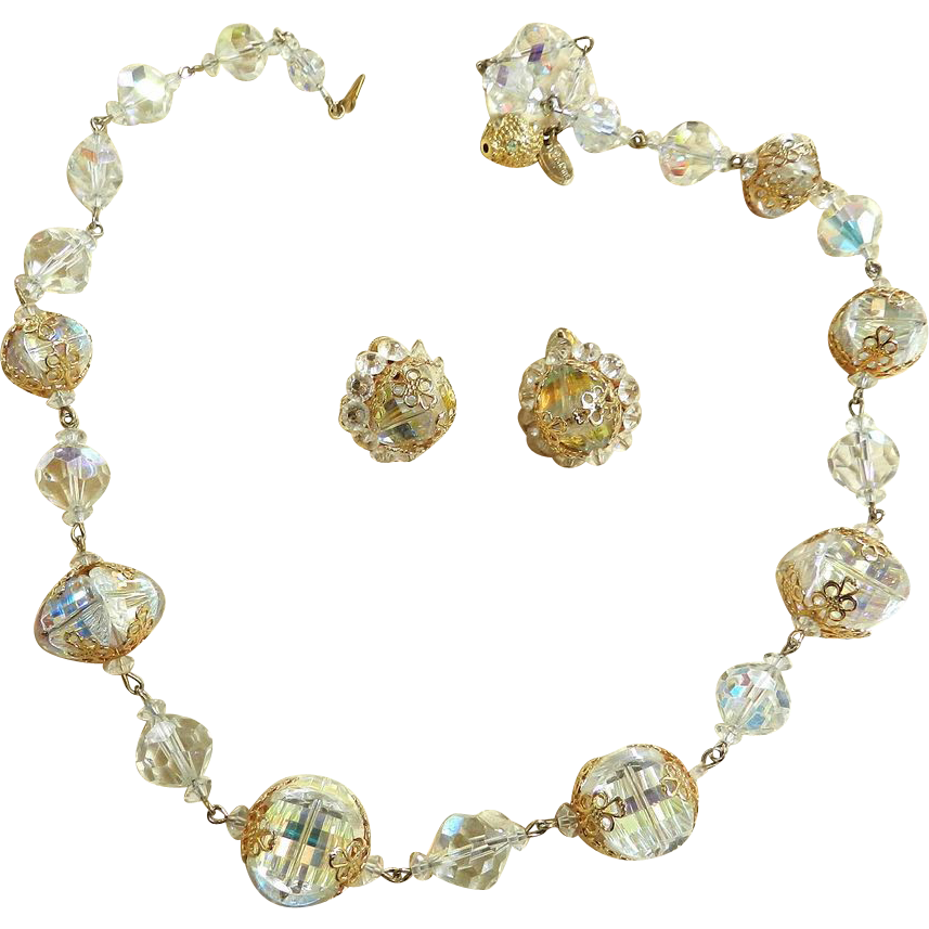 Classic Elegance Vintage Vendome Faceted Crystal and Filigree Necklace and Earrings