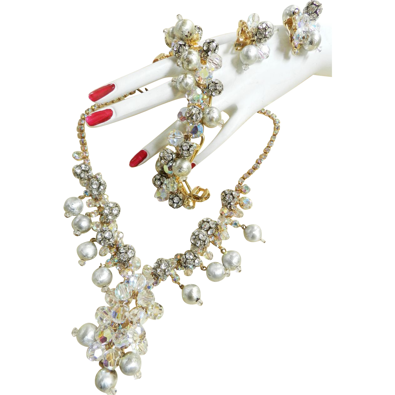 Exquisite Juliana Faux Pearl and Rhinestone Balls Parure