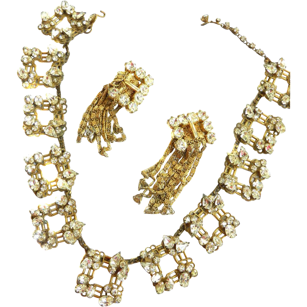 Vintage 40s Schiaparelli Rhinestone Necklace and Drippy Earrings