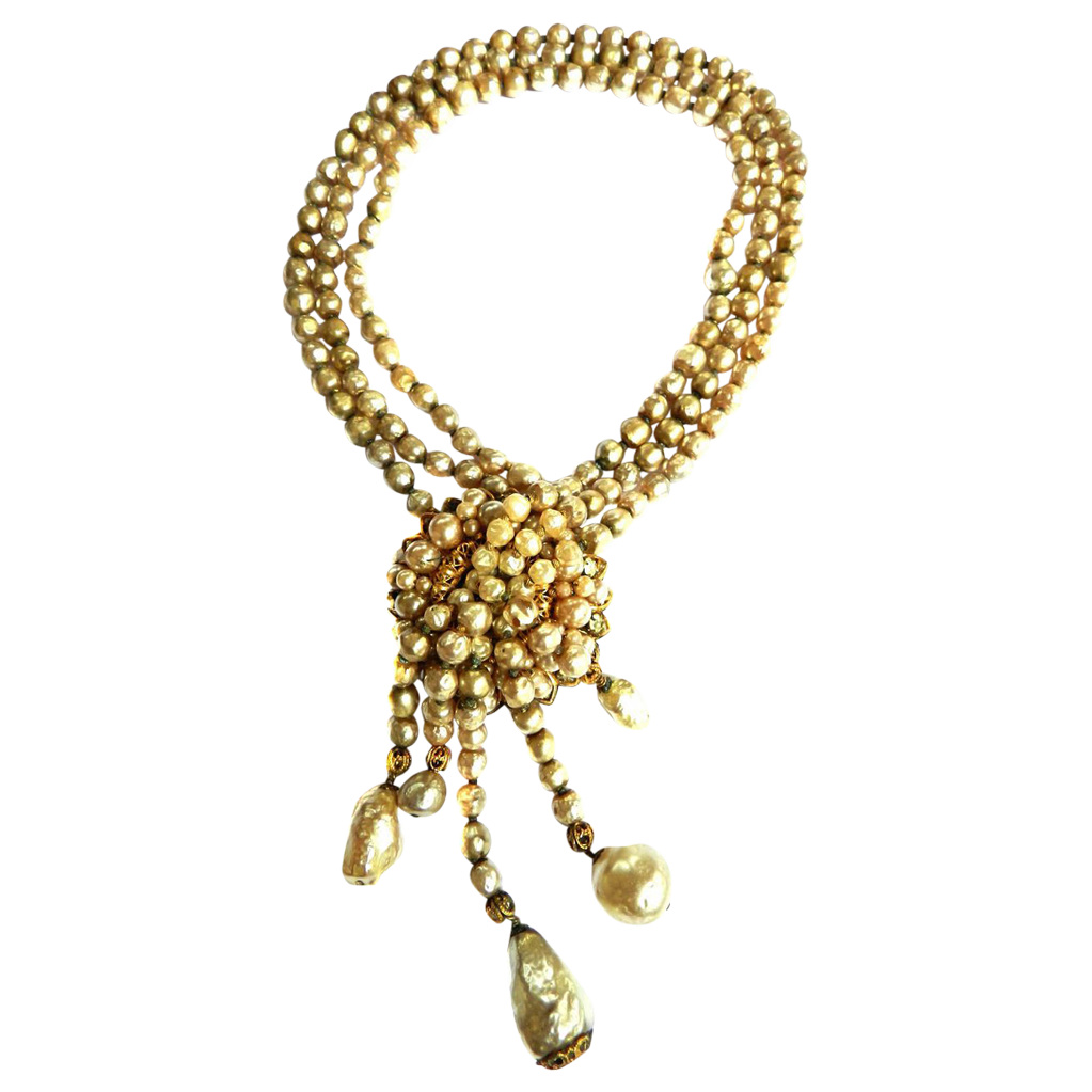 Exquisite Eugene Waterfall Faux Pearl Necklace Vintage