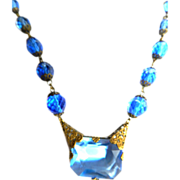 Early 1900s Czech Huge Sapphire Blue Glass Stone with Filigree Necklace