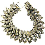 Magnificent 1940s Marcasite and Sterling Silver Bracelet