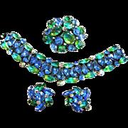 Fabulous 50s Kramer Emerald Green and Blue Bracelet Earrings Brooch