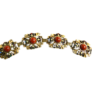 Big Chunky Victorian Revival 50s Carnelian Cabochon Bracelet