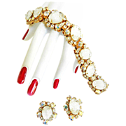Outrageous Vintage 50s Givre Art Glass Bracelet and Earrings
