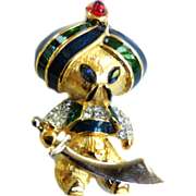 Super Rare Jomaz Turban Man with Sword Enamel and Rhinestone Brooch