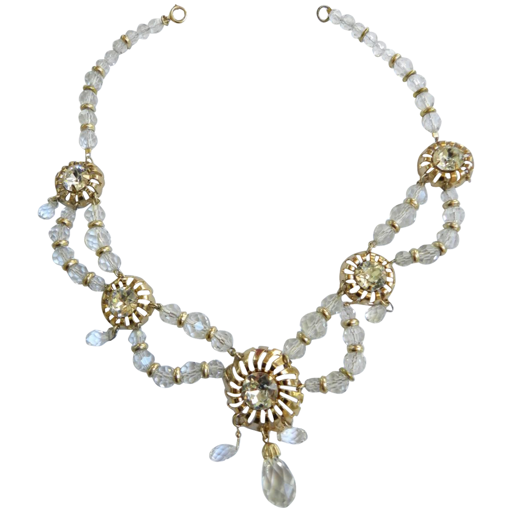 Exquisite Drippy Crystal Scalloped Designer Vintage Necklace