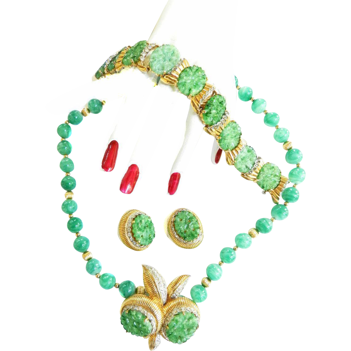 Spectacular Jomaz Vintage Faux jade Carved Bracelet Brooch Earrings Necklace