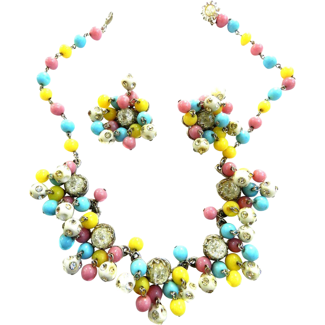 Vintage Kramer Drippy Dangling Pastel Necklace and Earrings