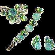 Dressed to kill Mint Green and Watermelon 50s Brooch Bracelet Earrings