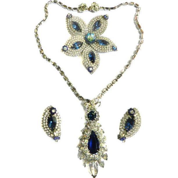 Fabulous Hobe 1950 Pendant Necklace Brooch Earrings Montana Blue