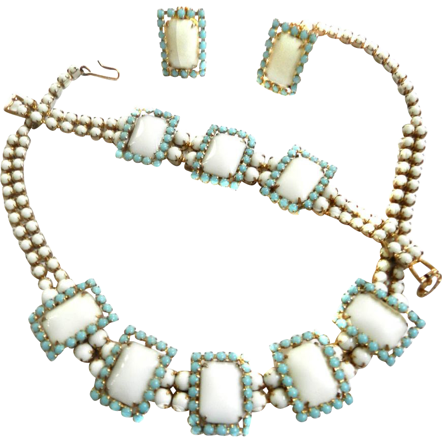 Vintage White Cabochon and Faux Turquoise Bracelet Earrings Necklace