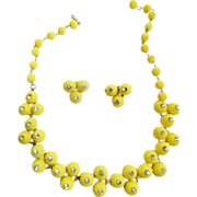 Fun Loving Coro Yellow Celluloid daisy Necklace and Earrings