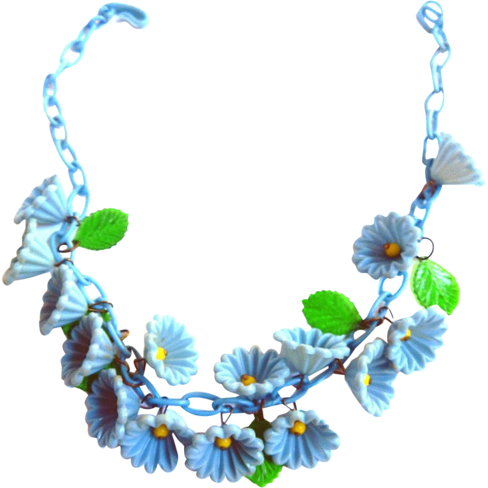 Early 1900s Celluloid Cornflower Necklace Collar