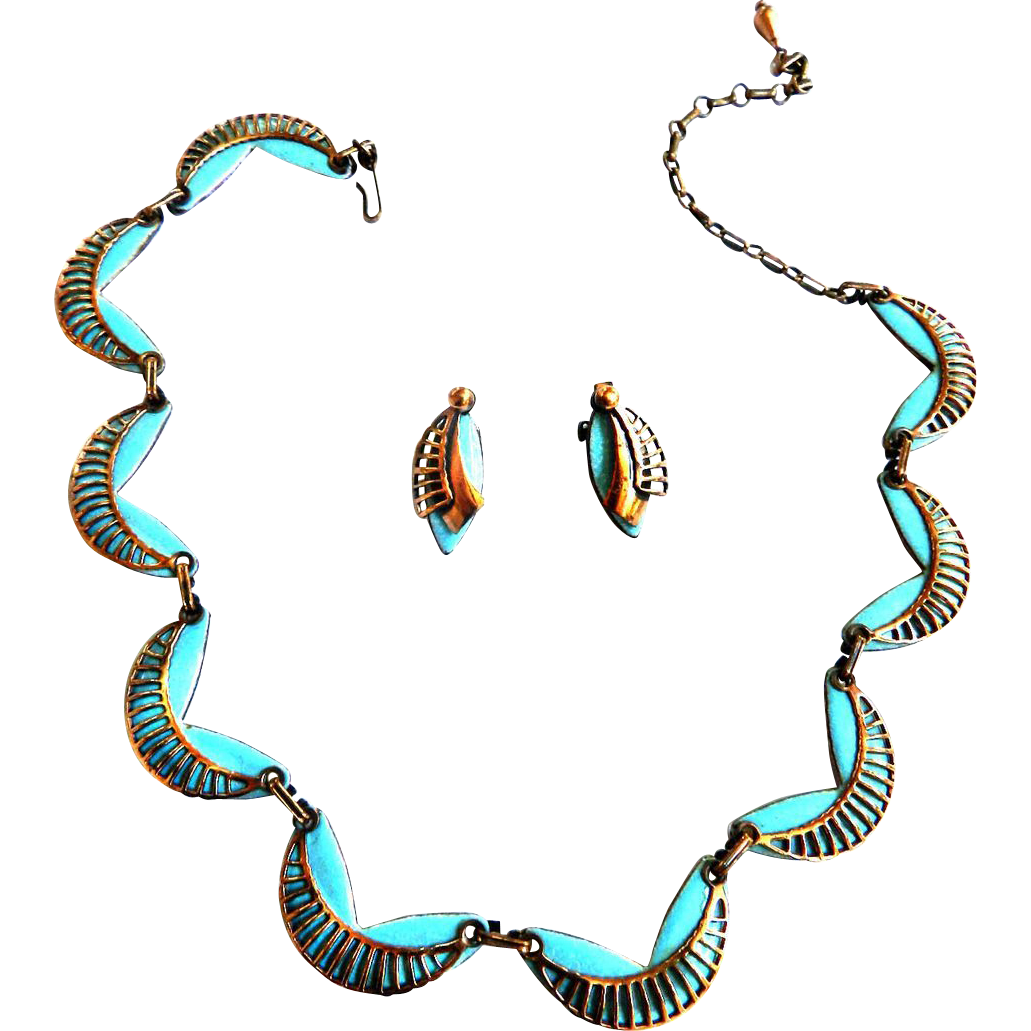 Mid Century Modern Matisse Turquoise  Enamel and Copper Necklace Bracelet Earrings