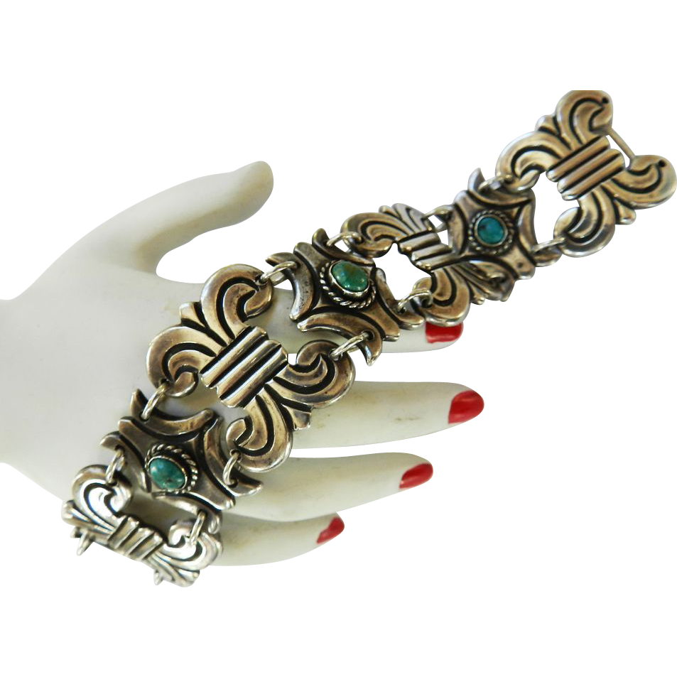 Magnificent 1940s Mexical 980 Heavy Duty Silver Content Bracelet